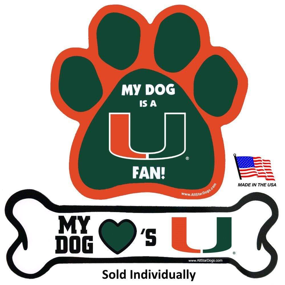 All Star Dogs Dog-products NCAA Bone Miami Hurricanes Car Magnets