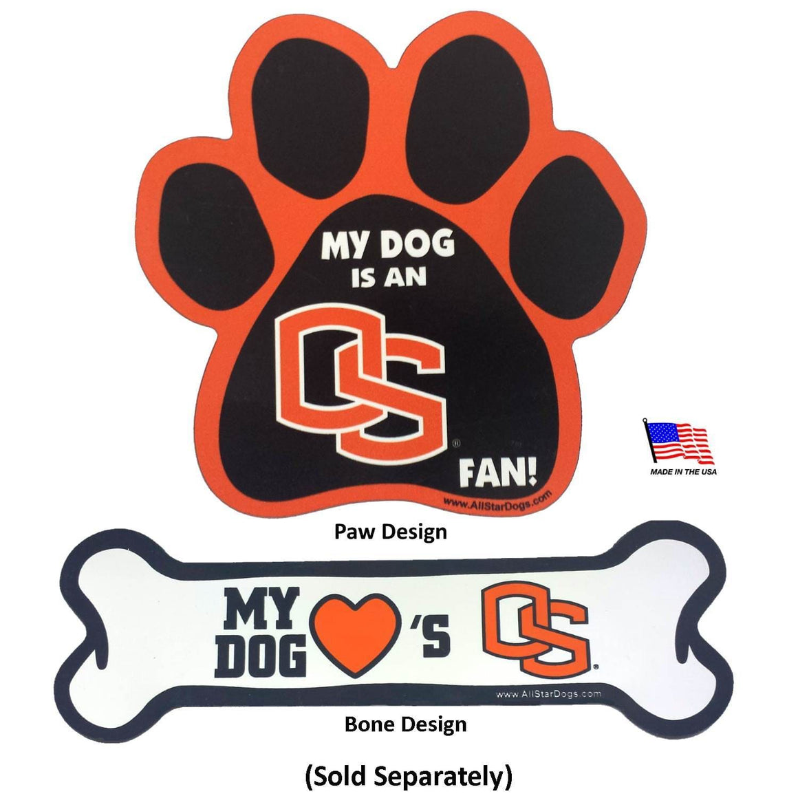 All Star Dogs Dog-products NCAA Bone Oregon State Beavers Car Magnets