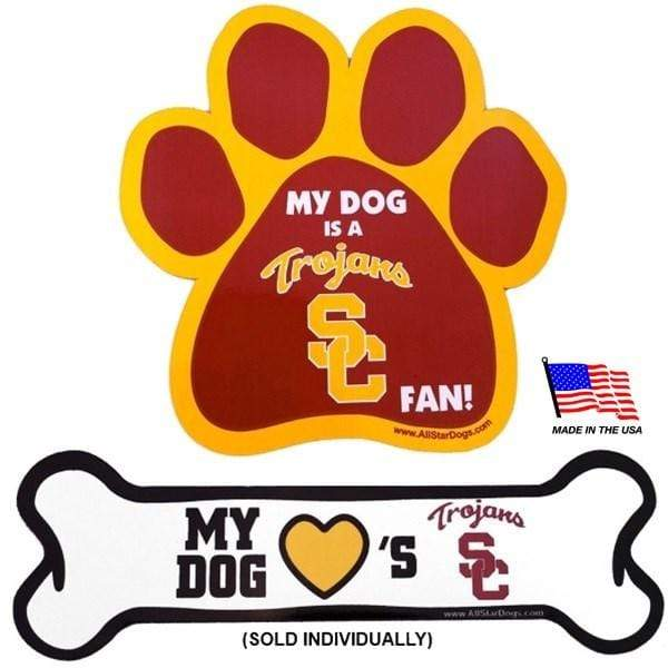 All Star Dogs Dog-products NCAA Bone Usc Trojans Car Magnets