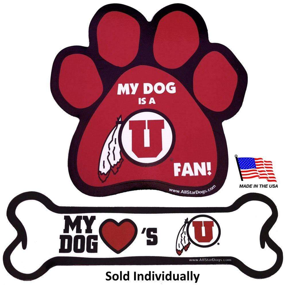 All Star Dogs Dog-products NCAA Bone Utah Utes Car Magnets