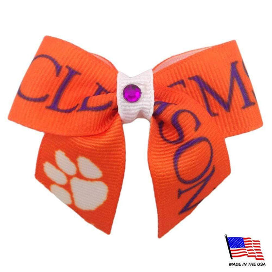 All Star Dogs Dog-products NCAA Clemson Tigers Pet Hair Bow