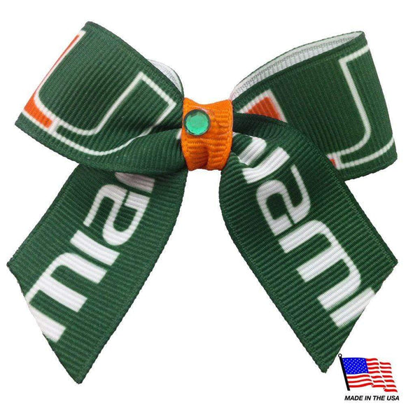All Star Dogs Dog-products NCAA Miami Hurricanes Pet Hair Bow