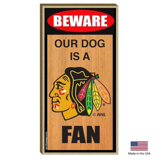 All Star Dogs Dog-products NHL Chicago Blackhawks Wood Sign