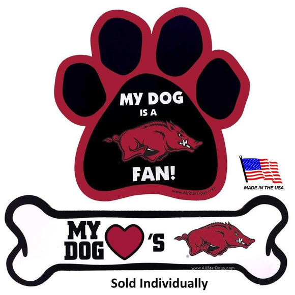 All Star Dogs Dog-products NCAA Paw Arkansas Razorbacks Car Magnets