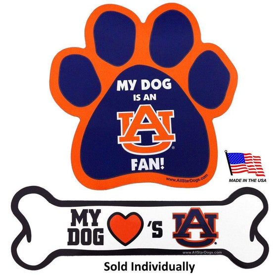 All Star Dogs Dog-products NCAA Paw Auburn Tigers Car Magnets