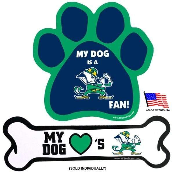 All Star Dogs Dog-products NCAA Paw Notre Dame Leprechaun Car Magnets