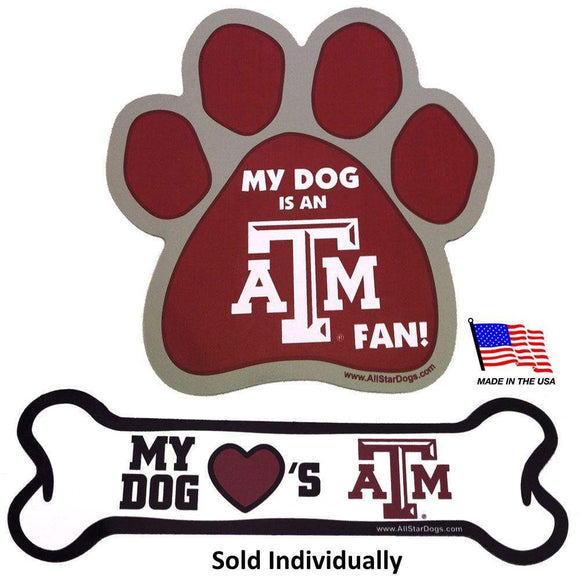 All Star Dogs Dog-products NCAA Paw Texas A&m Aggies Car Magnets