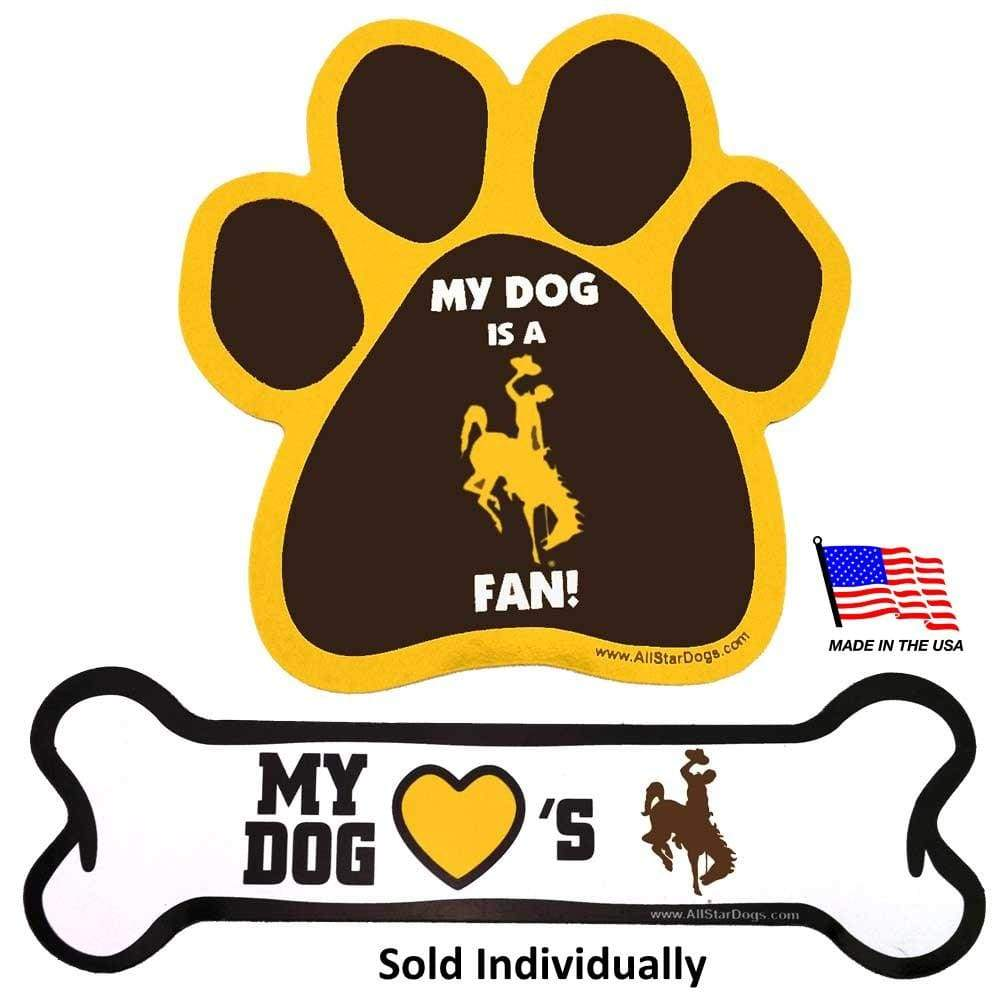 All Star Dogs Dog-products NCAA Paw Wyoming Cowboys Car Magnets