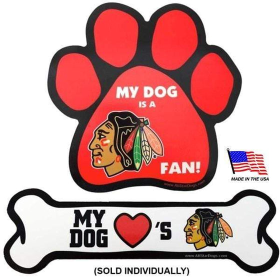 All Star Dogs Dog-products NHL Paw Chicago Blackhawks Car Magnets