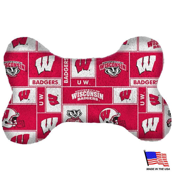 All Star Dogs Dog-products NCAA Small Wisconsin Badgers Plush Bone Toy