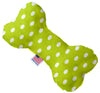 "Doggy Stylz Dog-products New 10"" Lime Green Polka Dots Inch Canvas Bone Dog Toy"