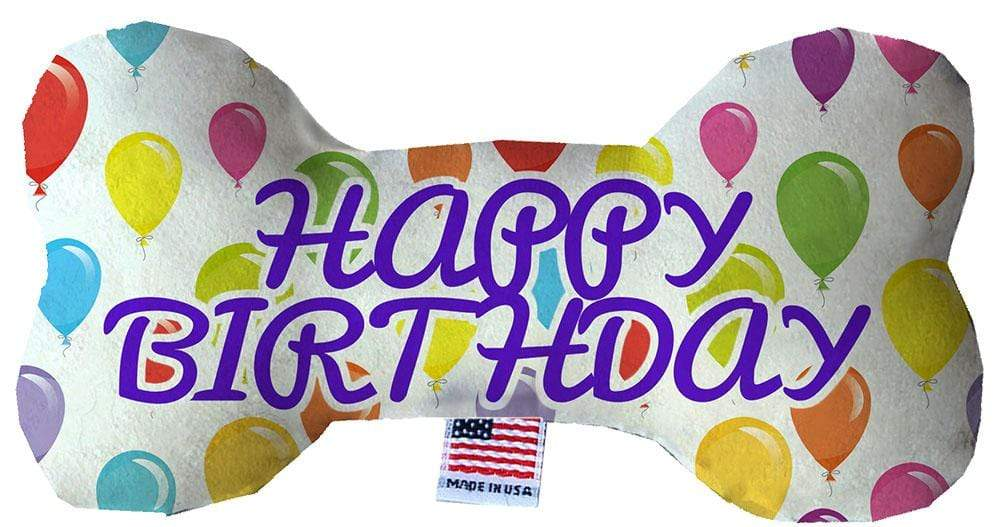"Doggy Stylz Dog-products New 6"" Happy Birthday Balloons Inch Fluffy Bone Dog Toy"