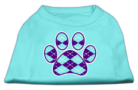 Doggy Stylz Dog-products New Pet Products Black / Medium Argyle Paw Purple Screen Print Shirt