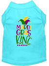 Doggy Stylz Dog-products New Aqua / XXXL Mardi Gras King Screen Print Mardi Gras Dog Shirt