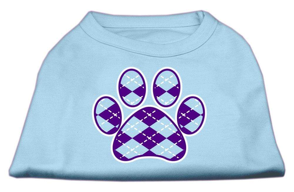 Doggy Stylz Dog-products New Pet Products Baby Blue / Extra Small Argyle Paw Purple Screen Print Shirt