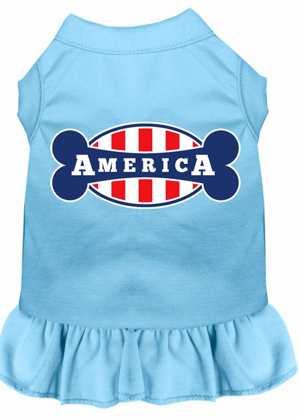 Doggy Stylz Dog-products Apparel Baby Blue / SMALL Bonely In America Screen Print Dress Baby Blue