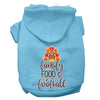 Doggy Stylz Dog-products New Baby Blue / XXXL Family, Food, And Football Screen Print Dog Hoodie