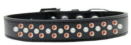 Doggy Stylz Dog-products New Pet Products Black / 18 Sprinkles Dog Collar Pearl And Orange Crystals Size