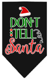 Doggy Stylz Dog-products New Black / Small Don't Tell Santa Screen Print Bandana
