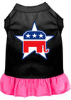 Doggy Stylz Dog-products Apparel Black With Bright Pink / EXTRA LARGE Republican Screen Print Dress Black