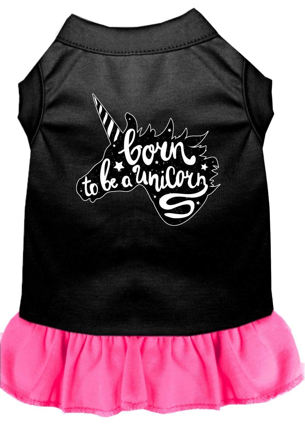 Doggy Stylz Dog-products Unicorns! Black With Bright Pink / Large Born To Be A Unicorn Screen Print Dog Dress