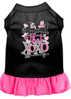 Doggy Stylz Dog-products New Black With Bright Pink / XXL All About The Xoxo Screen Print Dog Dress