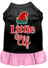 Doggy Stylz Dog-products New Black With Light Pink / Extra Small Little Elf Screen Print Dog Dress