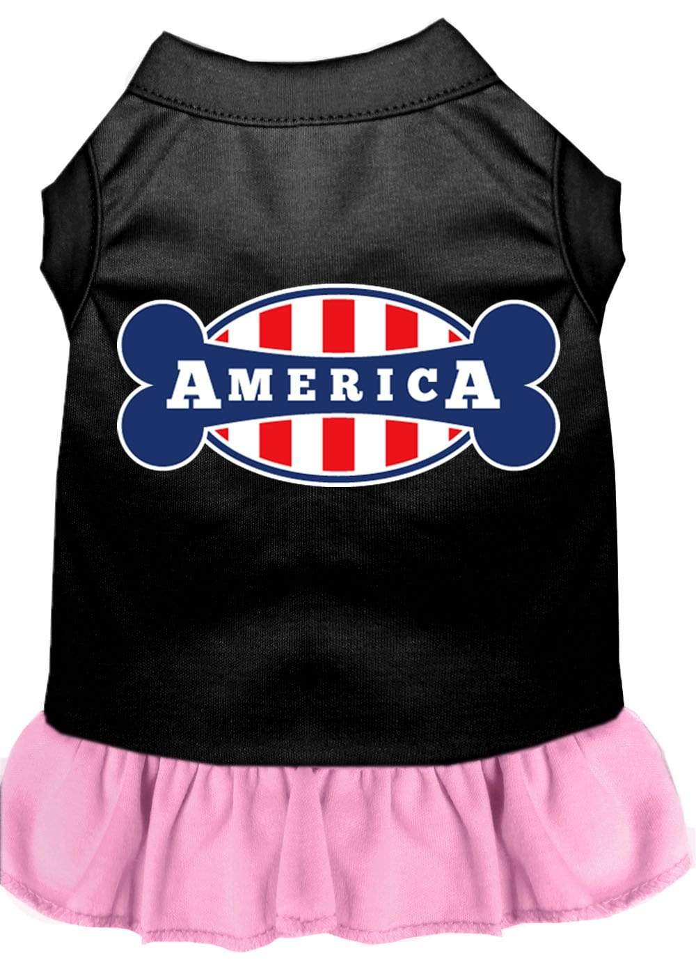 Doggy Stylz Dog-products Apparel Black With Light Pink / LARGE Bonely In America Screen Print Dress Black