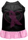 Doggy Stylz Dog-products Apparel Black With Light Pink / Xs (8) Pink Ribbon Rhinestone Dress Black