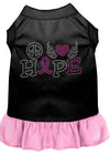 Doggy Stylz Dog-products Apparel Black With Light Pink / XXL (18) Peace Love Hope Breast Cancer Rhinestone Pet Dress Black