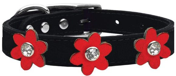 Doggy Stylz Dog-products New! Black With Metallic Red / 20 Metallic Flower Leather Collar Black With Metallic Flowers Size