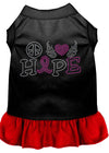 Doggy Stylz Dog-products Apparel Black With Red / LARGE (14) Peace Love Hope Breast Cancer Rhinestone Pet Dress Black