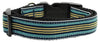 Doggy Stylz Dog-products Dog Collars And Leashes Blue/khaki / Large Preppy Stripes Nylon Ribbon Collars