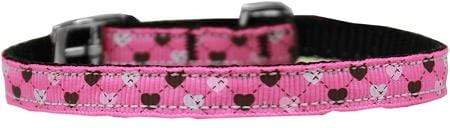 "Doggy Stylz Dog-products Dog Collars And Leashes Bright Pink / 16 Argyle Hearts Nylon Dog Collar With Classic Buckle 3/8"" Size"