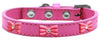 Doggy Stylz Dog-products New! Bright Pink / 20 Pink Glitter Bow Widget Dog Collar Size