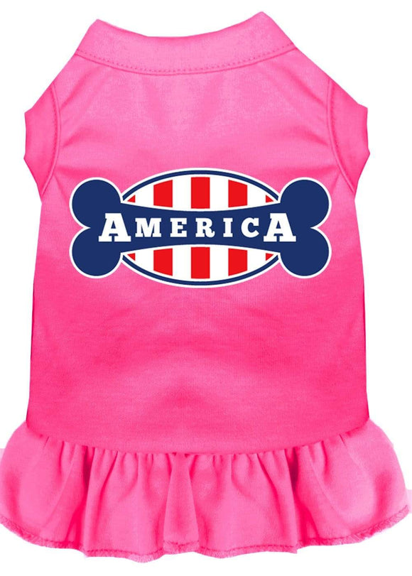 Doggy Stylz Dog-products Apparel Bright Pink / 4x (22) Bonely In America Screen Print Dress Bright Pink