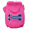Doggy Stylz Dog-products Pet Apparel Bright Pink / Extra Large Bone Shaped Iceland Flag Screen Print Pet Hoodies