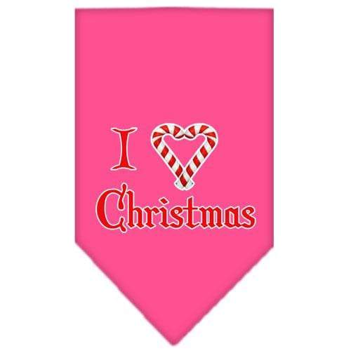Doggy Stylz Dog-products Dog Bandanas Bright Pink / Large Heart Christmas Screen Print Bandana