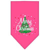 Doggy Stylz Dog-products Dog Bandanas Bright Pink / Large Scribble Merry Christmas Screen Print Bandana