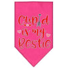 Doggy Stylz Dog-products New Bright Pink / Large Cupid Is My Bestie Screen Print Bandana