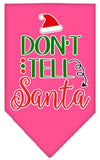 Doggy Stylz Dog-products New Bright Pink / Large Don't Tell Santa Screen Print Bandana