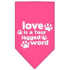 Doggy Stylz Dog-products New Pet Products Bright Pink / Large Love Is A Four Leg Word Screen Print Bandana