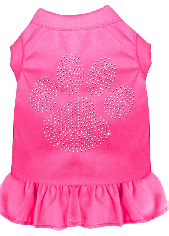 Doggy Stylz Dog-products Apparel Bright Pink / Sm (10) Rhinestone Clear Paw Dress Bright Pink