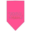 Doggy Stylz Dog-products Dog Bandanas Bright Pink / Small Trouble Maker Rhinestone Bandana