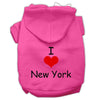 Doggy Stylz Dog-products Pet Apparel Bright Pink / Small I Love New York Screen Print Pet Hoodies Size