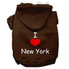 Doggy Stylz Dog-products Pet Apparel Brown / Extra Small I Love New York Screen Print Pet Hoodies Size