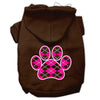 Doggy Stylz Dog-products Pet Apparel Brown / Medium Argyle Paw Pink Screen Print Pet Hoodies Size