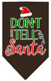 Doggy Stylz Dog-products New Cocoa / Small Don't Tell Santa Screen Print Bandana