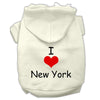 Doggy Stylz Dog-products Pet Apparel Cream / Extra Small I Love New York Screen Print Pet Hoodies Size
