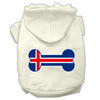 Doggy Stylz Dog-products Pet Apparel Cream / XXXL Bone Shaped Iceland Flag Screen Print Pet Hoodies